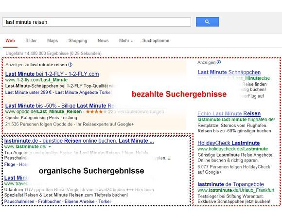 Suchmaschinen Ergebnisliste